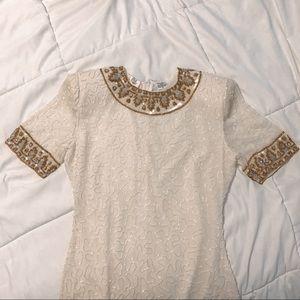 100% Silk Beaded Cocktail Dress